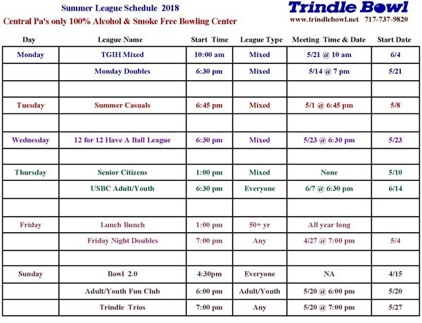 summer league schedule
